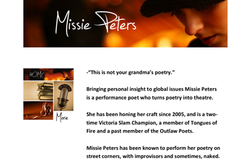 Performance poet Missie Peters.com <br/>Simple website with embedded video and flash audio player.<br/>Includes iPhone Design<br/><a href='http://www.missiepeters.com/'>View Site</a>
